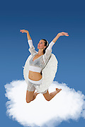 female white Angel on a cloud