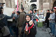 January 10, 2012, Damascus, Syria. Demonstrators in favor of Bachar el-Assad in the old city of Damascus during the civil war. <br /> <br /> 10 janvier 2012, Damas, Syrie. Manifestants en faveur de Bachar el-Assad dans la vieille ville de Damas pendant la guerre civile.