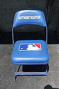 LOS ANGELES, CA - JUNE 30:  An authenticator chair is ready for the Los Angeles Dodgers game against the Philadelphia Phillies on Sunday, June 30, 2013 at Dodger Stadium in Los Angeles, California. The Dodgers won the game 6-1. (Photo by Paul Spinelli/MLB Photos via Getty Images)