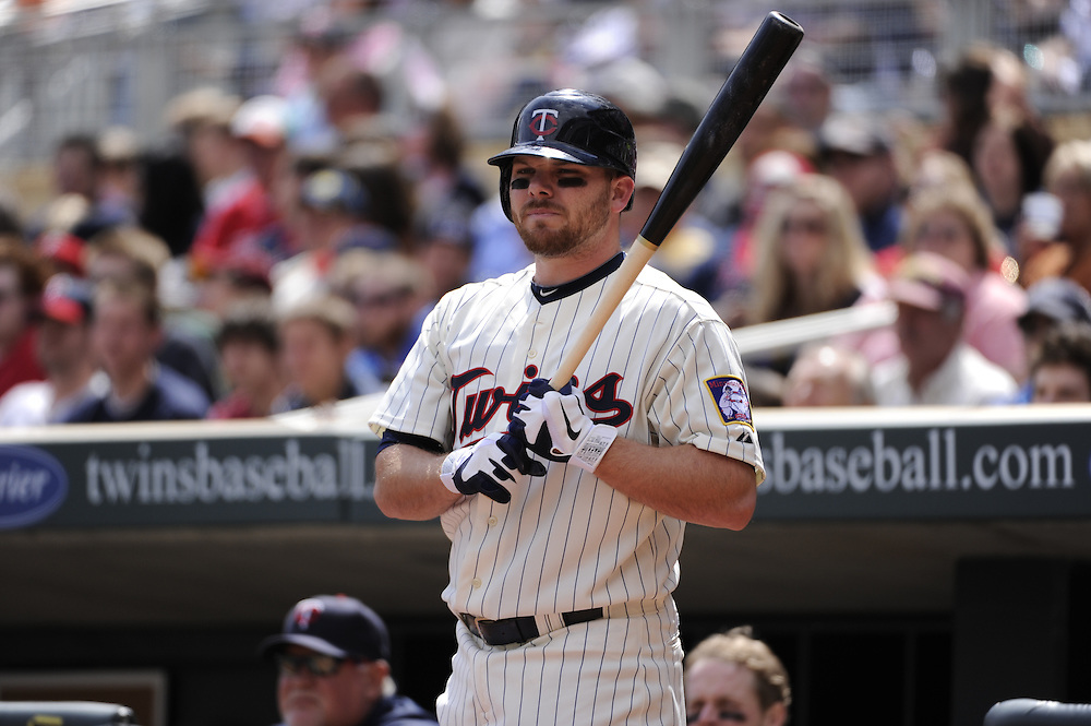 MINNEAPOLIS - APRIL 24:  Jason Kubel #16 of the Minnesota Twins looks on against the Cleveland Indians on April 24, 2011 at Target Field in Minneapolis, Minnesota.  The Twins defeated the Indians 4-3.  (Photo by Ron Vesely)  Subject:  Jason Kubel