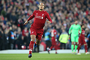 Liverpool defender Virgil van Dijk (4) during the Champions League Quarter-Final Leg 1 of 2 match between Liverpool and FC Porto at Anfield, Liverpool, England on 9 April 2019.