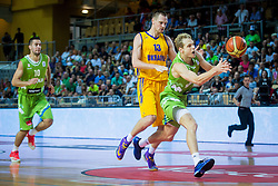 Jaka Blazic of Slovenia vs Ihor Zaytsev of Ukraine during friendly basketball match between National teams of Slovenia and Ukraineat day 1 of Adecco Cup 2015, on August 21 in Koper, Slovenia. Photo by Grega Valancic / Sportida
