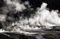 Visitors to the Upper Geyser Basin walk along boardwalks near Old Faithful geyser on Thursday morning in Yellowstone National Park.