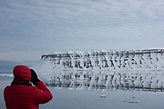 Spitsbergen scenery & tourists<br /> Svalbard<br /> Norway<br /> Arctic Ocean