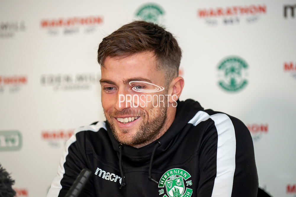 Lewis Stevenson (#16) of Hibernian FC during the Hibernian Press Conference at Hibernian Training Centre, Ormiston, Scotland on 8 November 2018.