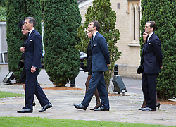 LONDON - UK - 11- SEPT - 2013: Britain's Prince Charles, The Prince of Wales,accompanied by Camilla, The Duchess of Cornwall and his sons Prince WIlliam and Prince Harry attend the funeral of Charles's close friend Hugh Van Cutsem at Brentwood Cathedral in Essex.<br /> The Van Cutsem boys, Highs sons arrive<br /> Photo by Ian Jones