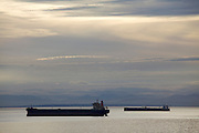 Cargo ships anchored at Burrard Inlet near Vancouver.