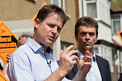 © Licensed to London News Pictures. 04/05/2015. Carshalton, UK.  Deputy Prime Minister, Nick Clegg meets Liberal Democrat candidate for Carshalton and Wallingdon, Tom Brake and supporters in Carshalton. Photo credit : Vickie Flores/LNP
