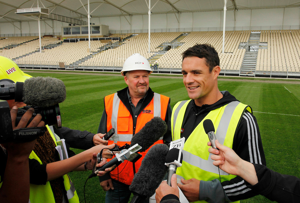 All Black and Crusader Dan Carter at the Christchurch Stadium where he helped put the goalposts in and then kicked the first ball over the posts, Christchurch, New Zealand, Friday, March 16, 2012.  Credit:SNPA / Pam Johnson .