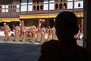 Mask dance performance at Tshechu Festival, Punakha Dzong, Punakha, Bhutan