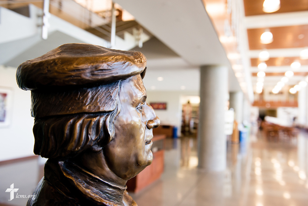 A bust of Martin Luther in the George R. White Library and Learning Center at Concordia University on Friday, July 11, 2014, in Portland, Ore. LCMS Communications/Erik M. Lunsford