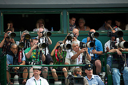 LONDON, ENGLAND - Sunday, July 4th, 2010: Photographers on platform B during the Gentlemen's Singles Final match on day thirteen of the Wimbledon Lawn Tennis Championships at the All England Lawn Tennis and Croquet Club. (Pic by David Rawcliffe/Propaganda)