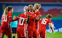 CARDIFF, WALES - Friday, November 24, 2017: Wales' Natasha Harding celebrates the winning goal, scored by Hayley Ladd, during the FIFA Women's World Cup 2019 Qualifying Round Group 1 match between Wales and Kazakhstan at the Cardiff City Stadium. (Pic by David Rawcliffe/Propaganda)