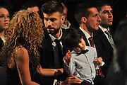 BARCELONA, SPAIN, 2015, NOVEMBER 09 <br /> <br /> Shakira and Milan and Gerard Pique collect the award for best Catalan player. Shakira looked stunning in black dress showing off her toned figure<br /> ©Exclusivepix Media