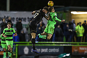 Mansfield Town's Ryan Sweeney(17) and Forest Green Rovers George Williams(11) jump for the ball during the EFL Sky Bet League 2 match between Forest Green Rovers and Mansfield Town at the New Lawn, Forest Green, United Kingdom on 29 January 2019.