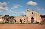 The Cortijo del Fraile, farmhouse and chapel built by Dominican monks in the 18th century, now abandoned, in the Cabo de Gata-Nijar Natural Park, Almeria, Andalusia, Southern Spain. This is the scene of the notorious 'Crime of Nijar', when a man was shot dead in the chapel to prevent him eloping with a bride promised to the gunman's brother. The park includes the Sierra del Cabo de Gata mountain range, volcanic rock landscapes, islands, coastline and coral reefs and has the only warm desert climate in Europe. The park was listed as a UNESCO Biosphere Reserve in 1997 and a Specially Protected Area of Mediterranean Importance in 2001. Picture by Manuel Cohen