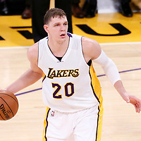 06 November 2016: Los Angeles Lakers center Timofey Mozgov (20) looks to pass the ball during the LA Lakers 119-108 victory over the Phoenix Suns, at the Staples Center, Los Angeles, California, USA.