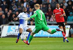 Abu Ogogo of Bristol Rovers tries to block a shot from Adam Davies of Barnsley- Mandatory-by line: Nizaam Jones/JMP - 04/05/2019 - FOOTBALL - Memorial Stadium - Bristol, England - Bristol Rovers v Barnsley - Sky Bet League One