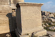 Stone with carved inscriptions from Letoon, near Xanthos, Antalya, Turkey. Many inscriptions have been uncovered at this site, including the Letoon trilingual, in Lycian Greek and Aramaic, which is held at the Fethiye Museum. The large monoliths with Lycian script are the most important source of knowledge of this lost ancient language. The Letoon or Sanctuary of Leto was the sacred cult centre of Lycia, its most important sanctuary, and was dedicated to the 3 national deities of Lycia, Leto and her twin children Apollo and Artemis. Leto was also worshipped as a family deity and as the guardian of the tomb. The site is 10km South of the ancient city of Xanthos in Lycia, near the modern-day village of Kumluova, Fethiye. Founded in the 6th century BC, the Greek site also flourished throughout Roman times, and a church was built here in the Christian era. The site was abandoned in the 7th century AD. Picture by Manuel Cohen