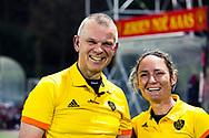 HUIZEN - hoofdklasse competitie dames, Huizen-Groningen .  scheidsrechters  Karen Dollé Juus de Kempenaer   COPYRIGHT KOEN SUYK