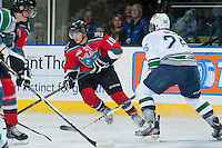 KELOWNA, CANADA - OCTOBER 11:   Nick Merkley #10 of the Kelowna Rockets looks for the pass against the Seattle Thunderbirds on October 11, 2013 at Prospera Place in Kelowna, British Columbia, Canada (Photo by Marissa Baecker/Shoot the Breeze) *** Local Caption ***
