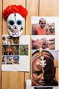 Illustrations of headgear from arond the world serve as insiration, along with a Mexican-inspired skull mask.