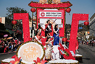 Miss China Town ride their float during the 119th annual Chinese New Year &quot;Golden Dragon Parade&quot; in the streets of Chinatown in Los Angeles, the United States, Saturday Feburary 17, 2018. (Xinhua/Zhao Hanrong)<br /> 2月17日,在美国洛杉矶,中国城小姐们在游行队伍中向人们挥手。当日,第119届金龙大游行在洛杉矶举行,庆祝中国农历新年。 (Photo by Ringo Chiu)<br /> <br /> Usage Notes: This content is intended for editorial use only. For other uses, additional clearances may be required.