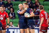 MELBOURNE, AUSTRALIA - APRIL 06: Billy Meakes of the Rebels celebrates with Reece Hodge of the Rebels at round 8 of The Super Rugby match between Melbourne Rebels and Sunwolves on April 06, 2019 at AAMI Park in VIC, Australia. (Photo by Speed Media/Icon Sportswire)