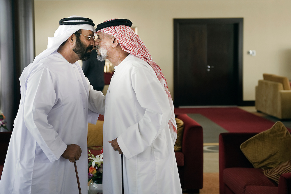 Dubai, United Arabs Emirates, 24 November 2008 <br /> Sheiks greet each other in a VIP room of  a camel race circuit.<br /> Photo: Ezequiel Scagnetti
