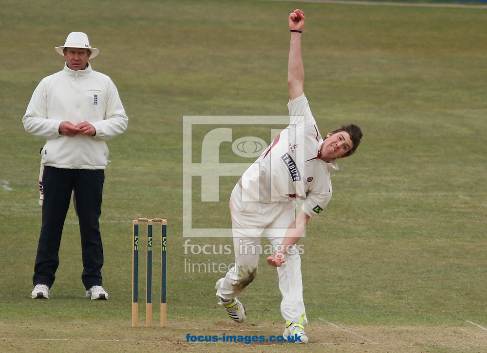 Picture by Tom Smith/Focus Images Ltd 07545141164.01/04/2013.Jamie Overton of Somerset County Cricket Club bowling during day one of a friendly match at the County Ground, Taunton, Somerset.