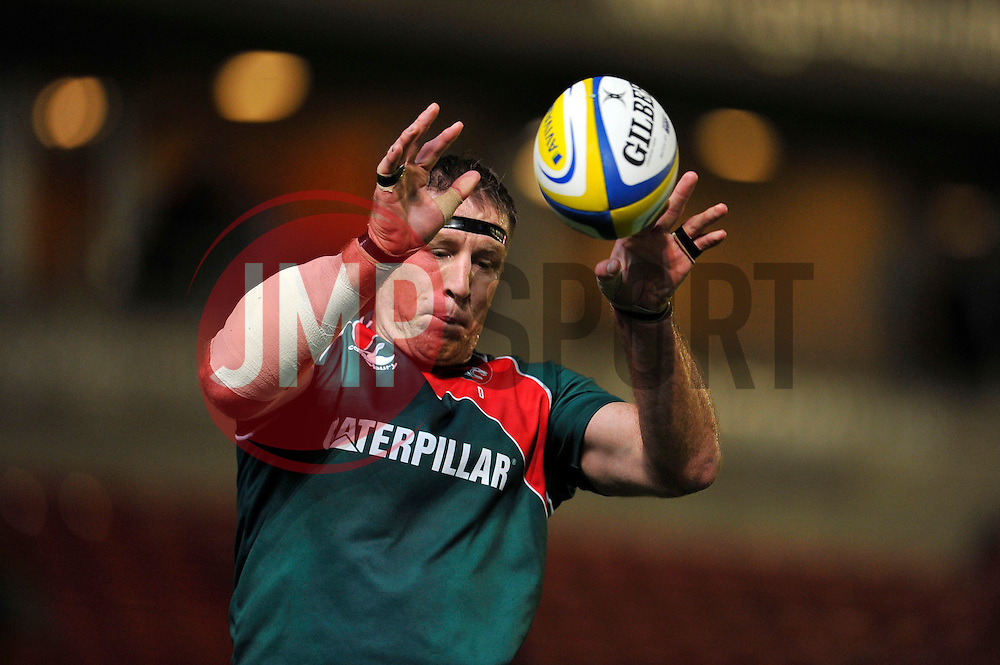 Brad Thorn of Leicester Tigers passes the ball during the pre-match warm-up - Photo mandatory by-line: Patrick Khachfe/JMP - Mobile: 07966 386802 10/10/2014 - SPORT - RUGBY UNION - Leicester - Welford Road - Leicester Tigers v Harlequins - Aviva Premiership