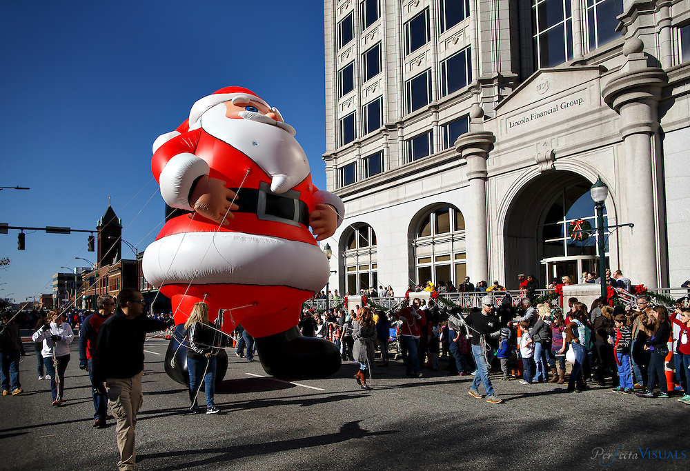 Thousands of people lined downtown streets to watch the Greensboro Holiday Parade with giant balloons, marching bands and Santa Claus, Saturday, December 5, 2015, in Greensboro, N.C. SCOTT MUTHERSBAUGH / Perfecta Visuals