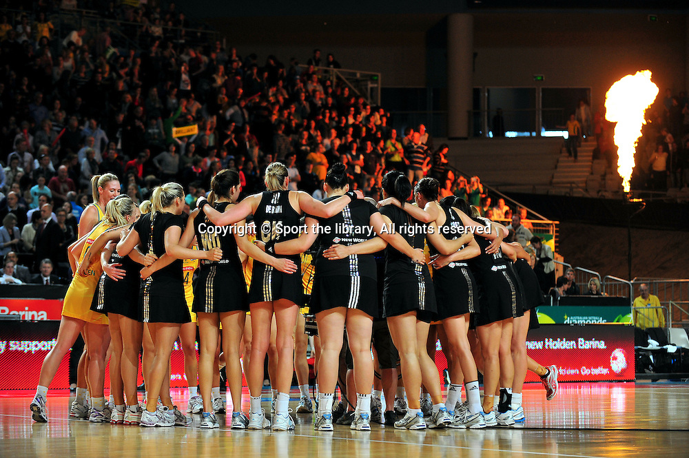 Final / Aus - NZ huddle<br /> 2011 Holden Netball Test Series<br /> Australia vs New Zealand <br />  Sunday 30 October 2011<br /> Hisense Arena/ Melbourne Australia <br /> &copy; Sport the library / Jeff Crow