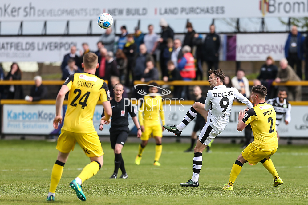 Forest Green Rovers Christian Doidge(9) passes the ball during the Vanarama National League match between Southport and Forest Green Rovers at the Merseyrail Community Stadium, Southport, United Kingdom on 17 April 2017. Photo by Shane Healey.
