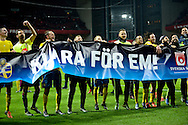 17.11.2015. Copenhagen, Denmark. <br /> Sweden players celebrate their UEFA EURO 2016 qualification at the end of their UEFA EURO 2016 play-off second leg against Denmark at the Telia Parken Stadium.<br /> Photo: © Ricardo Ramirez.