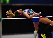 Alessia Trost (ITA) places third in the women's high jump at 6-4 (1.93m)  during the IAAF World Indoor Championships at Arena Birmingham in Birmingham, United Kingdom on Thursday, Mar 1, 2018. (Steve Flynn/Image of Sport)