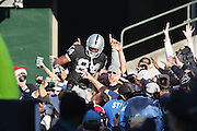 OAKLAND, CA - DECEMBER 19:  Wide receiver Jerry Porter #84 (caught 8 passes for 148 yards and 3 touchdowns) of the Oakland Raiders jumps into the stands and celebrates with fans after catching an 18 yard touchdown pass for a 21-14 Raiders lead in the 2nd quarter against the Tennessee Titans at Network Associates Coliseum on December 19, 2004 in Oakland, California. The Raiders defeated the Titans 40-35. ©Paul Anthony Spinelli *** Local Caption *** Jerry Porter