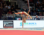 Nina Corradini from Ginnastica Fabriano team during the Italian Rhythmic Gymnastics Championship in Bologna, 9 February 2019.