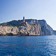scogliera isola di capri con faro e faraglioni, cliff with lighthouse island of Capri and Faraglioni