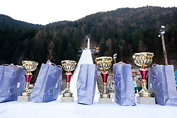Trophies during FIS Continental Cup Ski Jumping Ladies in Ljubno, on January 23, 2011, at K-85 in Ljubno ob Savinji, Slovenia. (Photo By Vid Ponikvar / Sportida.com)