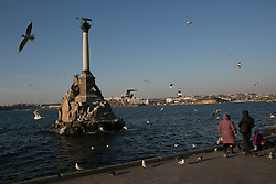 People enjoy the good weather in the waterfront of Sevastopol three days before the referendum. Ukraine , Thursday, 13th March 2014. Picture by Daniel Leal-Olivas / i-Images