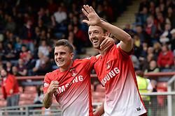 Leyton Orient's Dean Cox and Leyton Orient's David Mooney celebrate Mooney scoring a goal   - Photo mandatory by-line: Mitchell Gunn/JMP - Tel: Mobile: 07966 386802 29/09/2013 - SPORT - FOOTBALL -  Matchroom Stadium - London - Leyton Orient v Walsall - Sky Bet League One