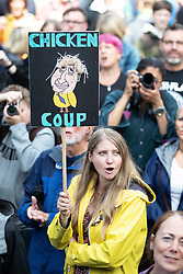 "© Licensed to London News Pictures. 31/08/2019. Manchester, UK. A placard reading "" Chicken Coup "" . Thousands attend a pro EU demo in Albert Square in Manchester City Centre , with objections raised to the Prime Minister Boris Johnson's intention to prorogue Parliament in the run up to Britain's planned Brexit deadline . Photo credit: Joel Goodman/LNP"