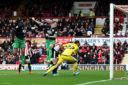 Aden Flint of Bristol City heads towards goal - Mandatory by-line: Dougie Allward/JMP - 16/04/2016 - FOOTBALL - Griffin Park - Brentford, England - Brentford v Bristol City - Sky Bet Championship