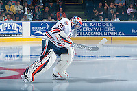 KELOWNA, CANADA - SEPTEMBER 24: Dylan Ferguson #31 of the Kamloops Blazers enters the ice against the Kelowna Rockets on September 24, 2016 at Prospera Place in Kelowna, British Columbia, Canada.  (Photo by Marissa Baecker/Shoot the Breeze)  *** Local Caption *** Dylan Ferguson;