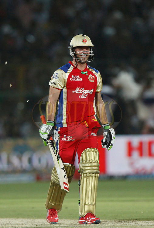 Royal Challengers Bangalore player AB De Villiers celebrates his fifty during match 30 of the the Indian Premier League ( IPL) 2012  between The Rajasthan Royals and the Royal Challengers Bangalore held at the Sawai Mansingh Stadium in Jaipur on the 23rd April 2012..Photo by Pankaj Nangia/IPL/SPORTZPICS