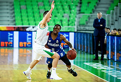 Roko Badzim of Petrol Olimpija vs Rashun Jarrel Davis of Rogaska during basketball match between KK Petrol Olimpija and KK Rogaska in Round #5 of Liga Nova KBM za prvaka 2018/19, on March 31, 2019, in Arena Stozice, Ljubljana, Slovenia. Photo by Masa Kraljic / Sportida