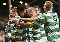30/11/14 WILLIAM HILL SCOTTISH CUP 4TH RND<br /> HEARTS v CELTIC <br /> TYNECASTLE<br /> Celtic's Virgil van Dijk (centre) celebrates with team-mates Scott Brown (right) and Stefan Johansen having scored his second of the game to put his side 0-4 ahead