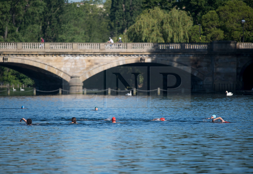 © Licensed to London News Pictures. 20/05/2020. London, UK. Members of the Serpentine Swimming club swimming in the open water of the serpentine lake in order to socially distance, at Hyde Park in London during lockdown. Government has announced a series of measures to slowly ease lockdown, which was introduced to fight the spread of the COVID-19 strain of coronavirus. Photo credit: Ben Cawthra/LNP