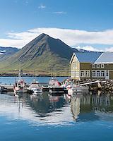 Small fishing boats at dock in Siglufjörður, North Iceland.